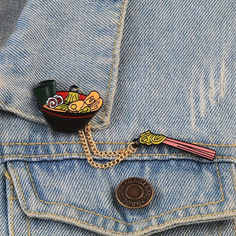 Cartoon Ramen Enamel Pins Cute Foods Japanese Noodles Chopsticks Brooches Women Men Denim Shirts Lapel Pins Badge Jewelry Gifts