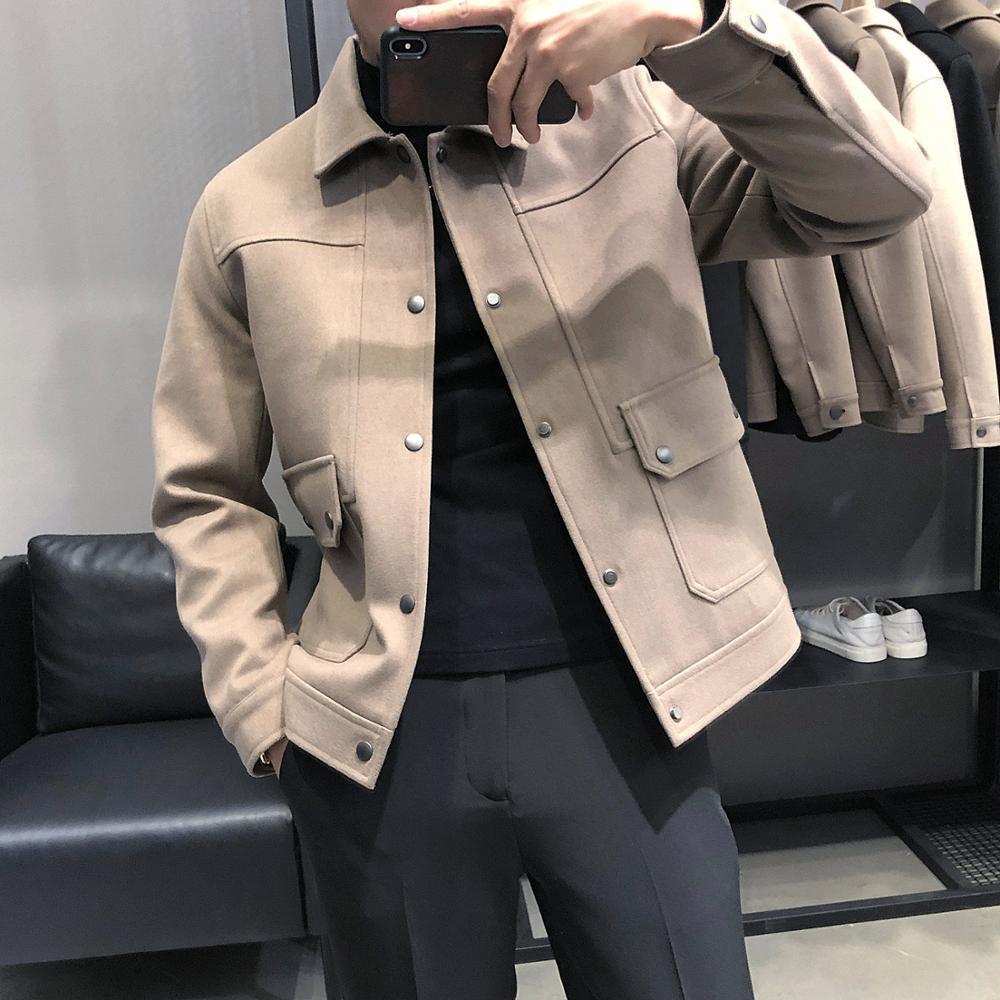 النمط البريطاني الخريف الشتاء سميكة الدافئة الرجال السترات الجبهة جيوب واحدة الصدر سليم صالح معاطف عادية كم طويل جودة عالية