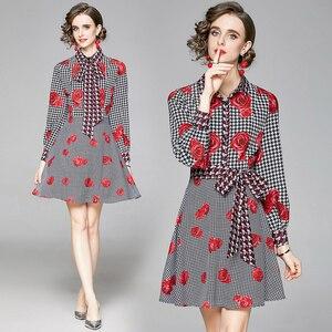 2021 New Spring/Autumn Long Puff Sleeve Turn-down Collar Shirt Dress Vestido Feminino Design Print England Style French Dress