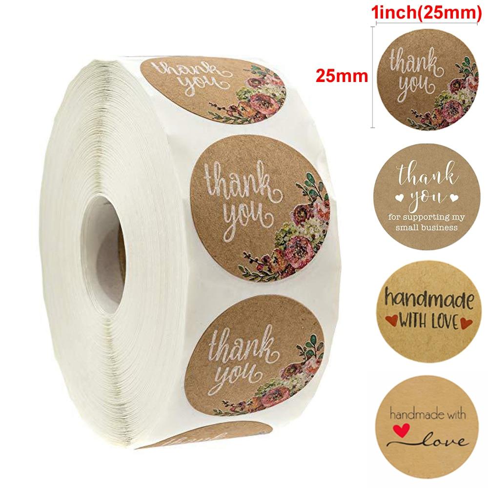 500pcs 1Inch DIY Hand Made Handmade Label Wedding Stickers Adhesive Seal Sticker Kraft Round Labels Shop owner Thank You Sticker