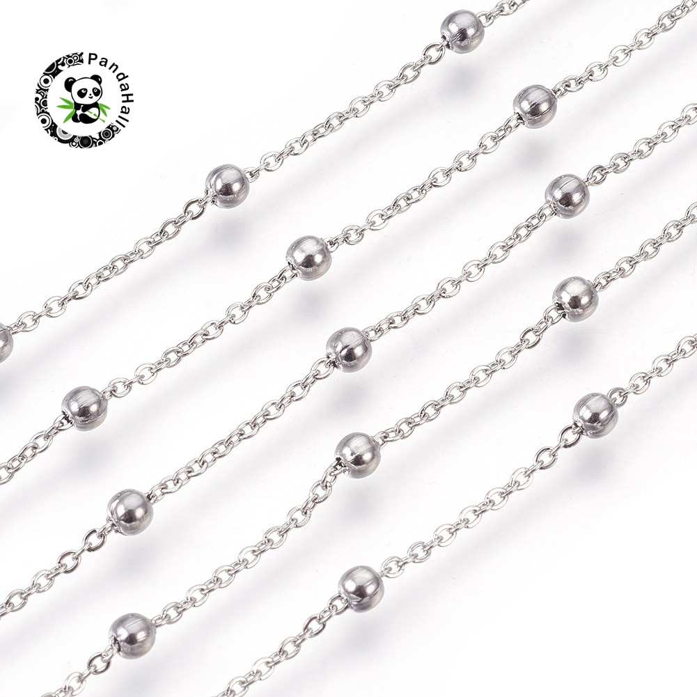 10m Stainless Steel Cable Chains Flat Oval Satellite Chains with Round Beads Soldered For Jewelry Making 2~4mm