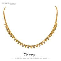 Изысканное блестящее ожерелье-цепочка из фианита, ожерелье-чокер из нержавеющей стали