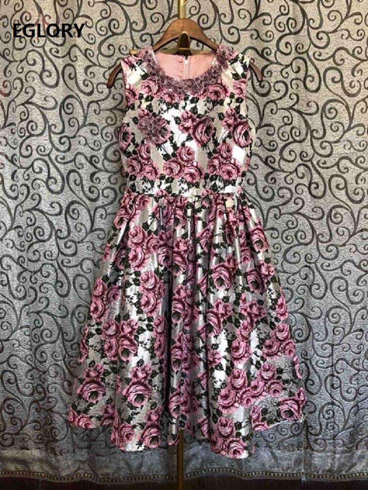 Ball Gown Dress 2020 Spring Fashion Runway Women Hand Made Beading Flower Patterns Sleeveless Mid-Calf Length Vintage Dress