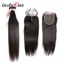 Tissage brésilien de cheveux de 28 30 40 pouces 4 paquets avec la fermeture de dentelle Remy droit 100% tissages dextension de cheveux humains et 4*4 fermetures