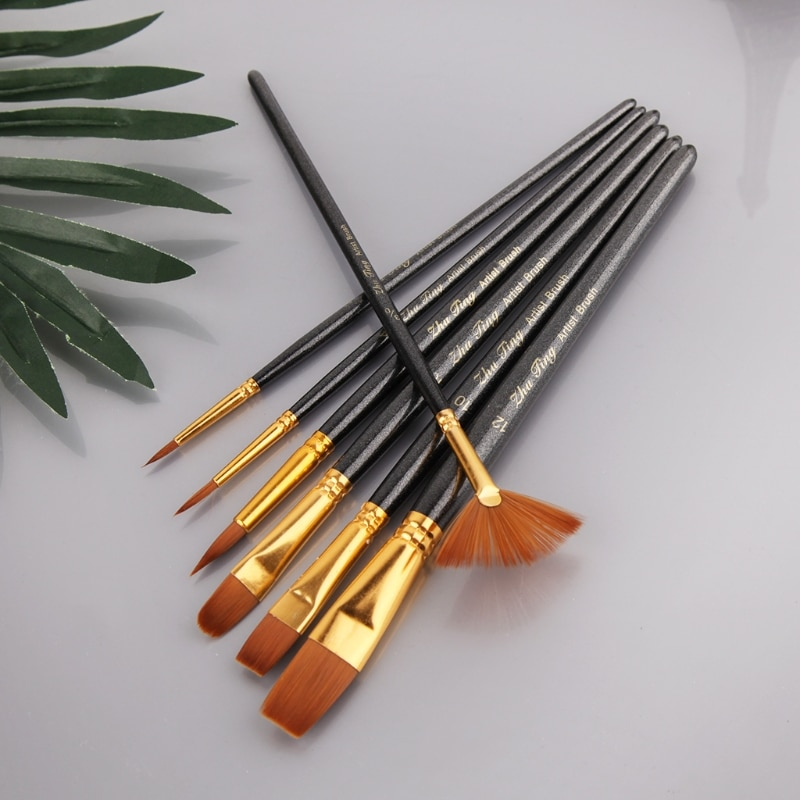 Different Shape Nylon Hair Paint Brush Artist Oil Watercolor Professional Supply 20CB enlarge