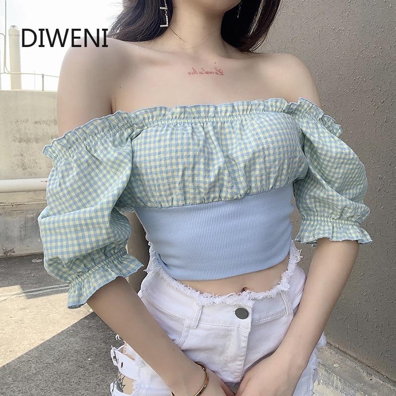 DIWEINI, Serie de entramado, patchwork, cintura elástica, tela, camisetas de encaje, croptop, mujer, ropa de calle de ocio, camiseta de manga puff kpop