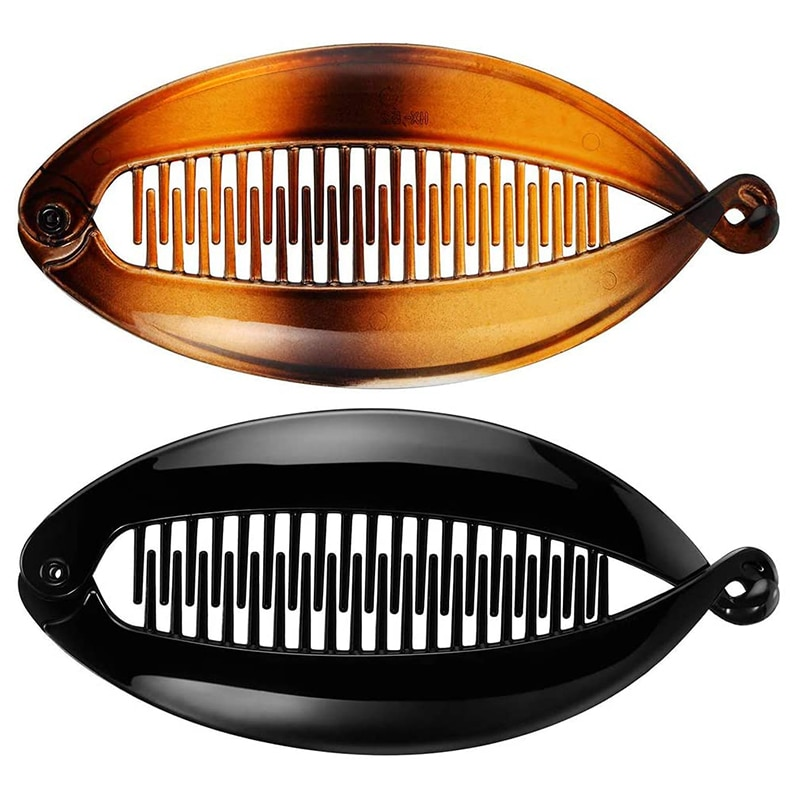 Hairpin banana clipe peixe pente largo infringing pente hairpin longo peixe lidar com slide tamanho 14 cm senhoras
