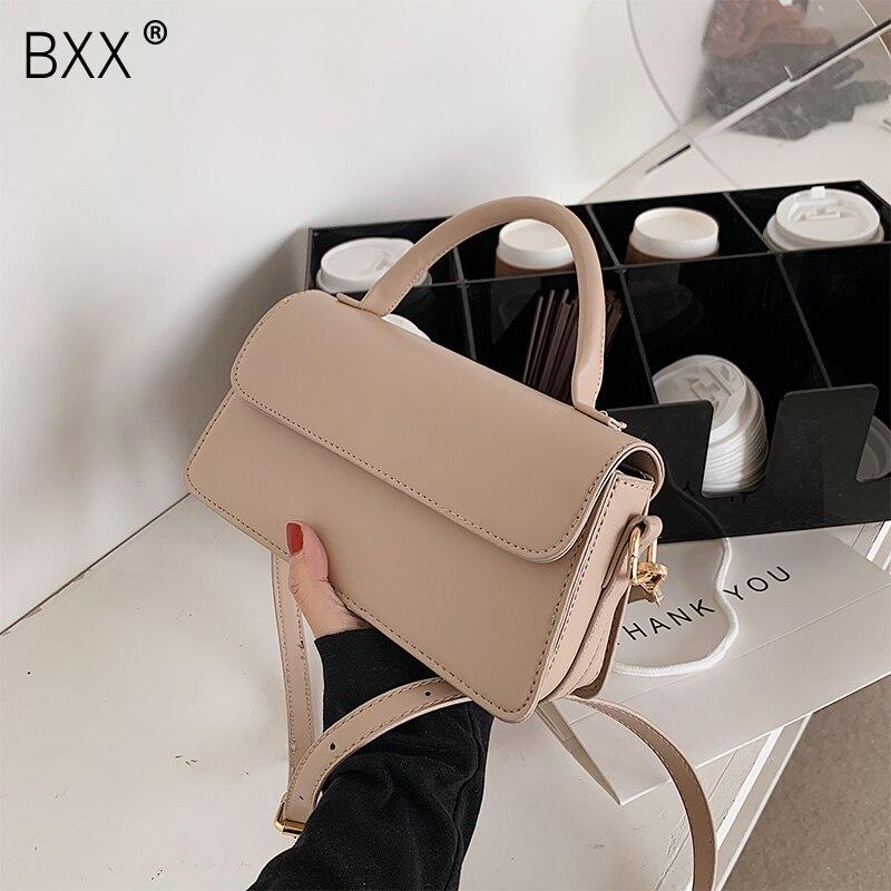 [BXX] Small PU Leather Crossbody Flap Bags For Women 2021 New Spring Summer Luxury Handbags Lady Shoulder Bag Purses HR256