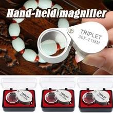 10X 20X 30X Portable poche bijoux Loupe Identification Loupe haute grossissement verre métal pliant poche Loupe