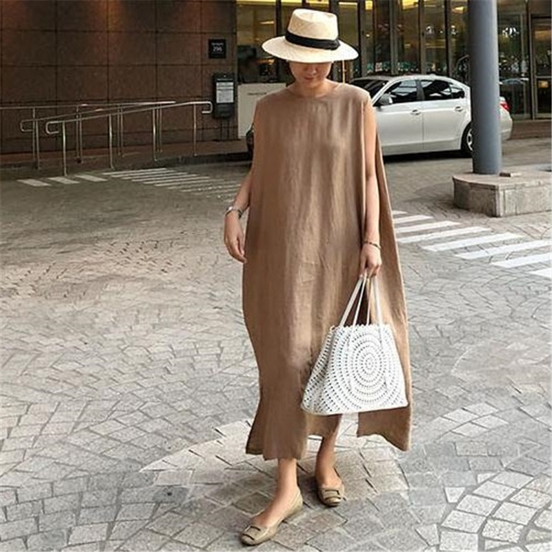 Cbafu vintage longo maxi vestido feminino sem mangas bolsos coreano solto vestido de festa oversize split harajuku o-neck vestido de verão f470