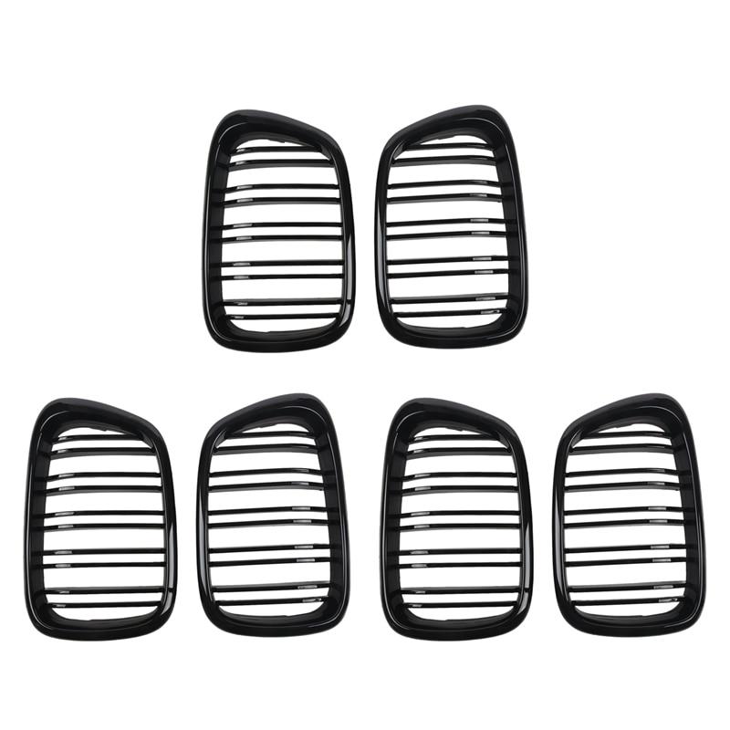 6X لامع أسود الجبهة هود الكلى مصبغة شواء ABS خط مزدوج متوافق ل BMW E39 5-Series 525 528 1995-2004