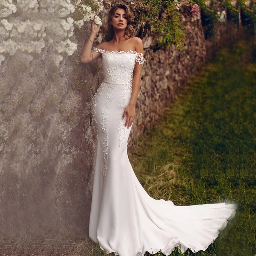 Review Sexy Wedding Dresses White For Women Custom Made  Jersey Pleat Appliques Square Collar Lace Up Mermaid Bridal Gowns Novia