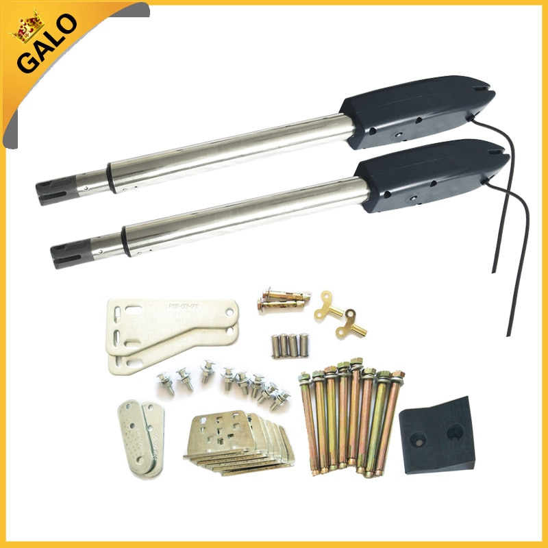 Linear actuator engine Automatic dual barrier swing arm boom gate motor opener kit with remote control automatic swing door gate opener electric double arm opener operator linear actuator with remote control warning light optional
