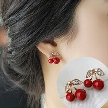 Boucles doreilles cerises rouges, boucles doreilles en fruit doux, frais, à la mode pour femmes, belles filles, étudiantes