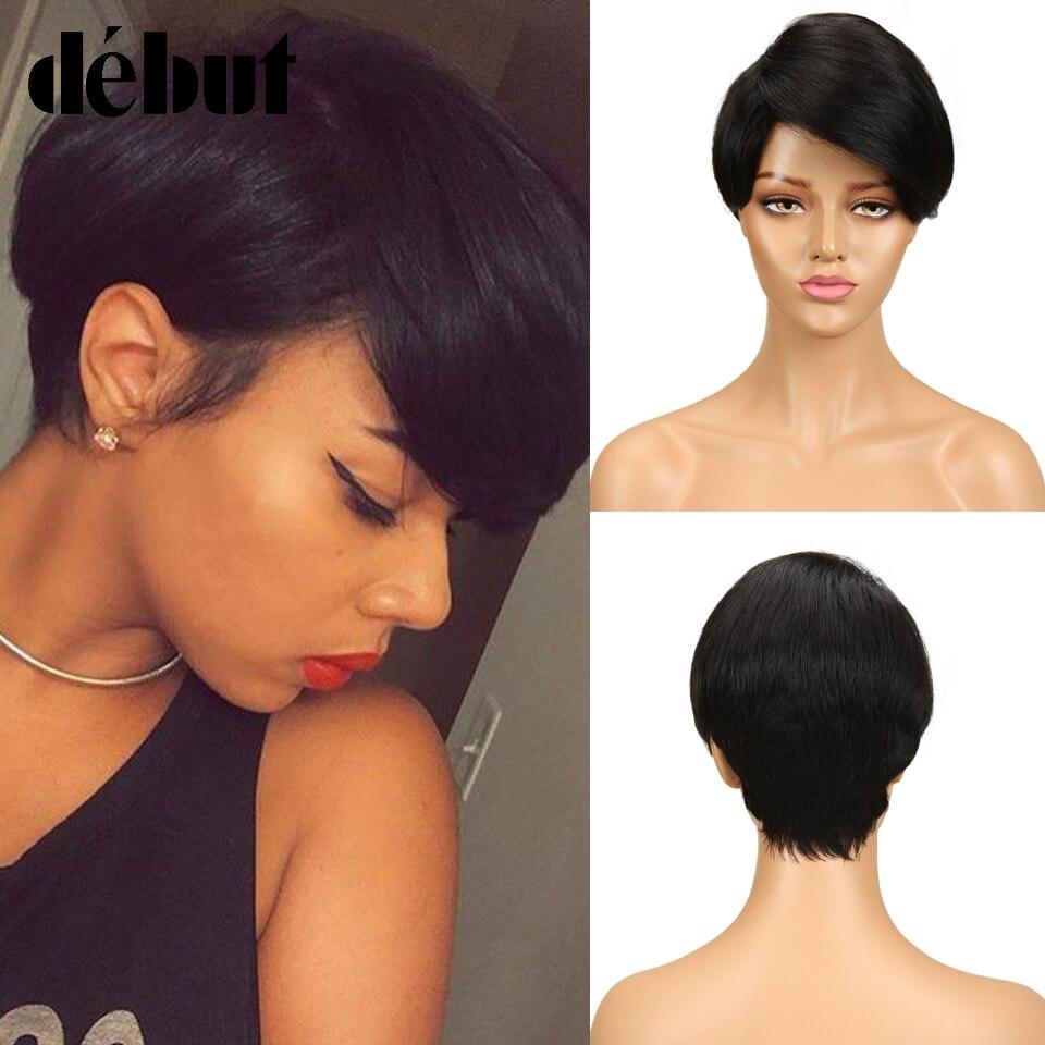 Debut negro barato pelucas de cabello humano para las mujeres corto brasileño recto corte Pixie pelucas 99J Rubio Ombre pelucas completas del pelo humano de Remy