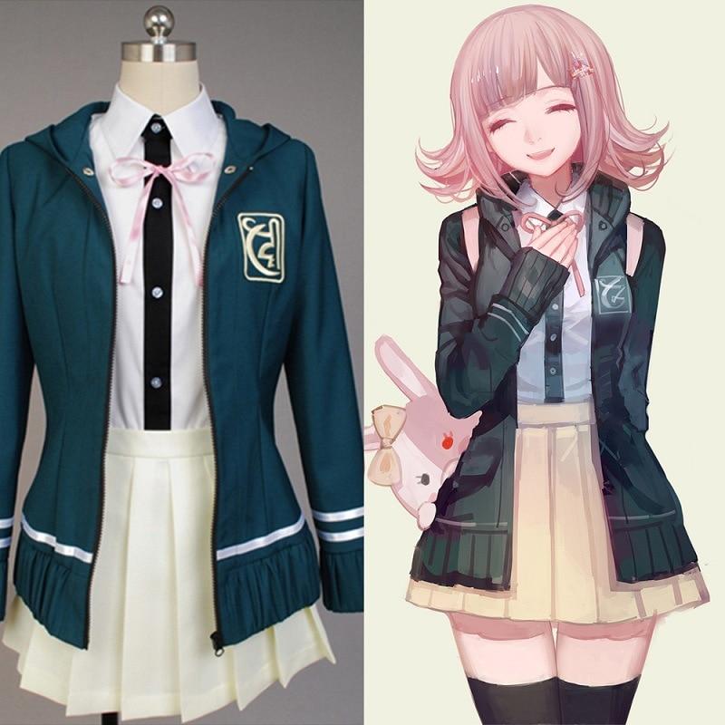 Chaqueta de uniforme de Super DanganRonpa 2 Dangan Ronpa Chiaki Nanami, camisa, falda de lazo, disfraz de Cosplay de mujer, peluca, horquilla, bolso de gato