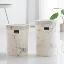 Patrón de mármol plástico papelera Oficina Baño papelera de cocina sala de estar sala de basura sin tapa estilo europeo