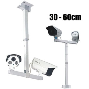 T-Shaped Telescopic CCTV Security Camera Bracket Extension 30-60cm Adjustable Double Camera Lifting Support Vertical Pole Stand