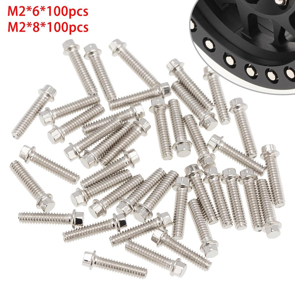 100pcs M2*6 M2*8 Stainless Steel Wheel Rim Hub Screws Set for 1/10 Simulation RC Car Model Accessories