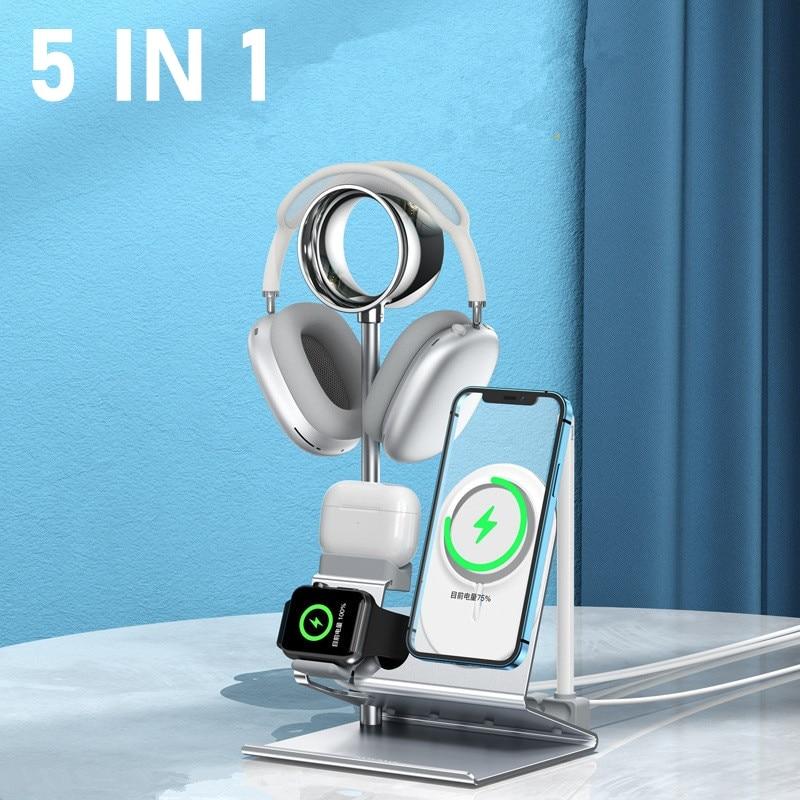 5 IN1 متعدد مكتب حامل هاتف آيفون 13 12 11 XS برو ماكس ميني 8 7 6 Plus المعادن شحن حامل ل أبل ساعة Airpods قلم رصاص
