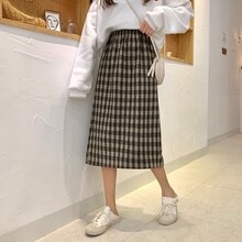 Casual Korean A-Line Plaid Women Skirt Ladies Vintage Empire Kawaii Sweet Skirts Mid-Calf High Waist Female Cute Skirts