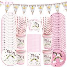 Huiran Einhorn Einweg Geschirr Einhorn Papier Platte Tassen Einhorn Geburtstag Party Decor Kinder Partei Liefert Baby Dusche Mädchen