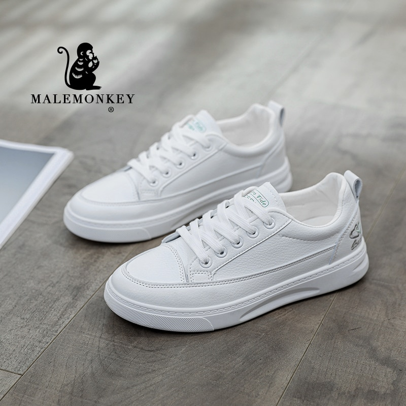 White Sneakers Women Platform 2021 Autumn Outdoor Round Toe Lace-Up Closure Ladies Casual Flats Shoe