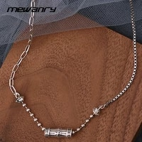 mewanry 925 sterling silver couples necklace for women new fashion vintage party creative cylinder clavicle chain jewelry gifts