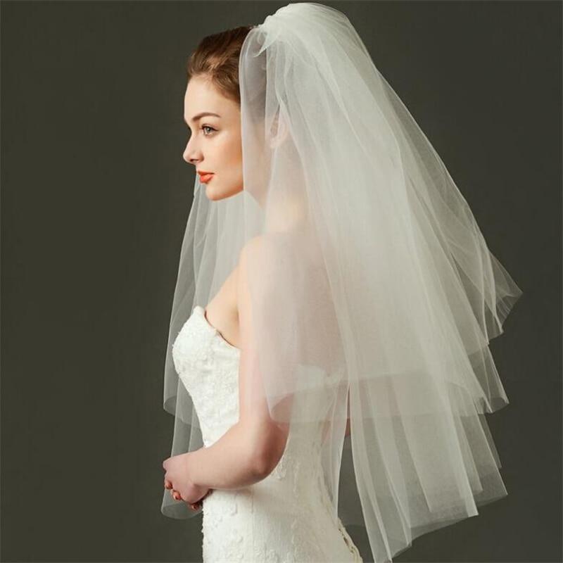 Ts0001 barato véu curto casamento acessórios de novia branco marfim tule véus com pente simples nova noiva mariage véus 2 camadas