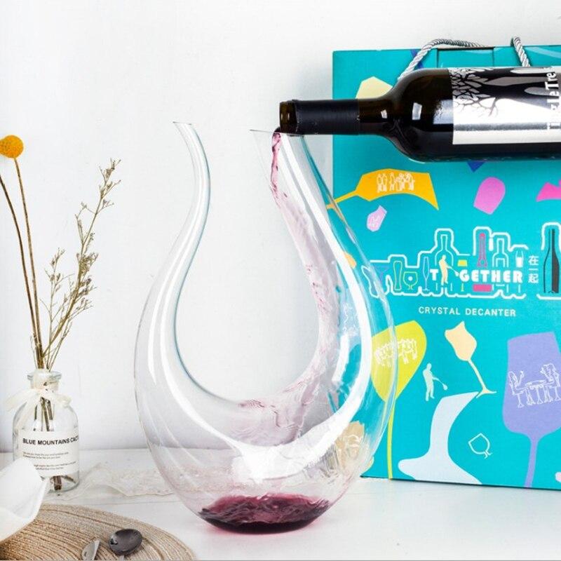 Decantador hecho a mano de cristal, 1400ml, vino tinto, Brandy, champán, copas, decantador, botella, jarra, aireador para Bar familiar