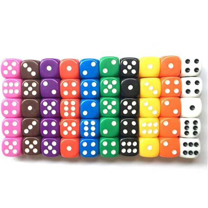 10Pcs Hohe Qualität 16mm Multi Farbe Sechs Seitige Spot D6 Spielen Spiele Würfel Set Opaque Würfel Für Bar pub Club Party Brettspiel