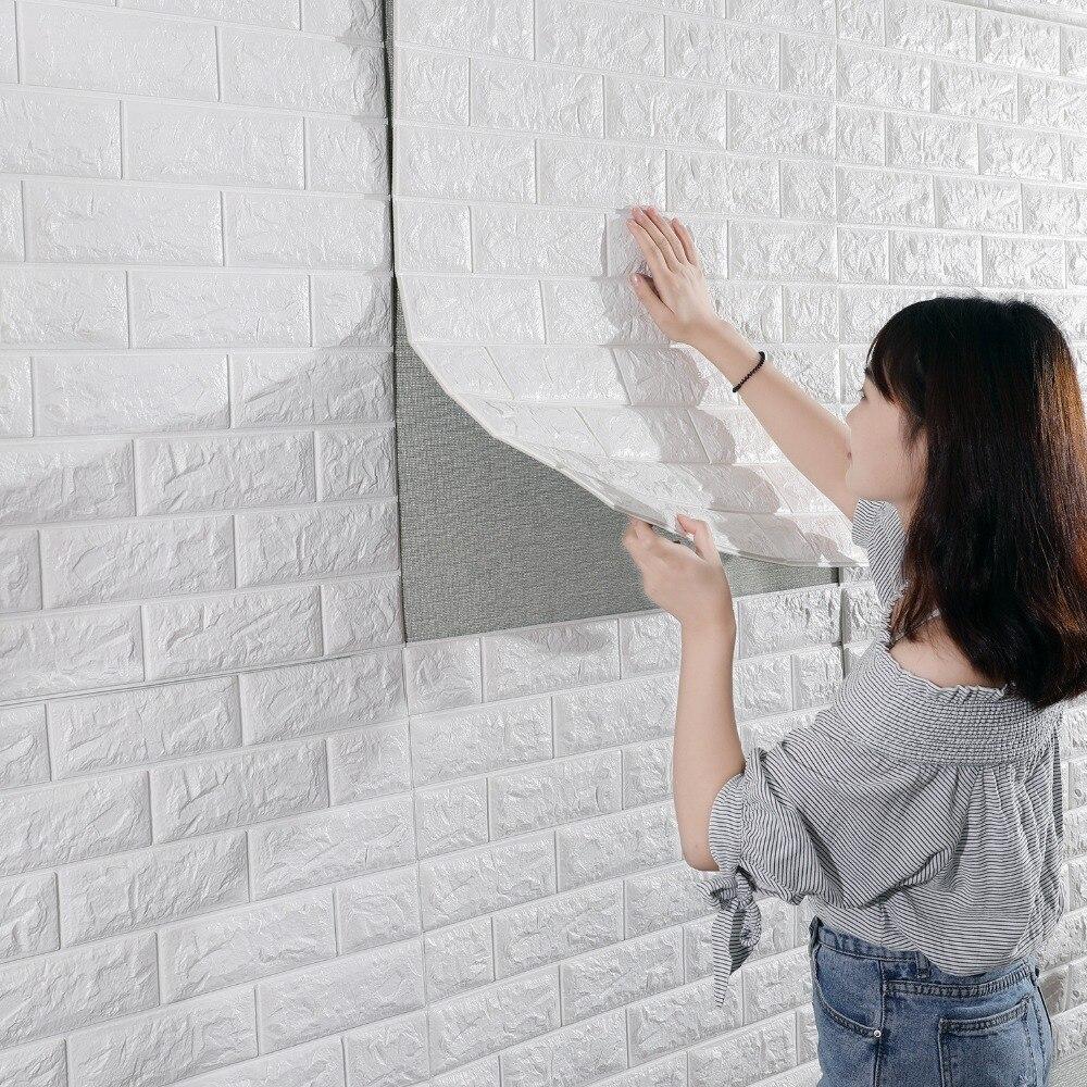 Papel de pared de ladrillo 3D, papel de pared 3D autoadhesivo, impermeable, de 70x77cm para dormitorio, cuarto de niños, sala de estar, papel tapiz 3D