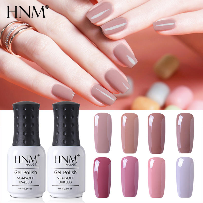 HNM New Nude Light Color 8ML UV Gel Nail Polish Top Base Semi Permanent Hybrid Varnish Stamping Enamel Painting Gellak 12 Colors