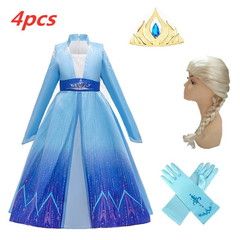 Retail New 3-12 Years Cosplay Princess Dress Anna Elsa 2 Carnival Costume Girls Dress Children Party Clothing Kids Vestidos