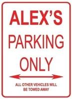 adorepug tin sign warning sign alexs parking only street room metal poster wall decor