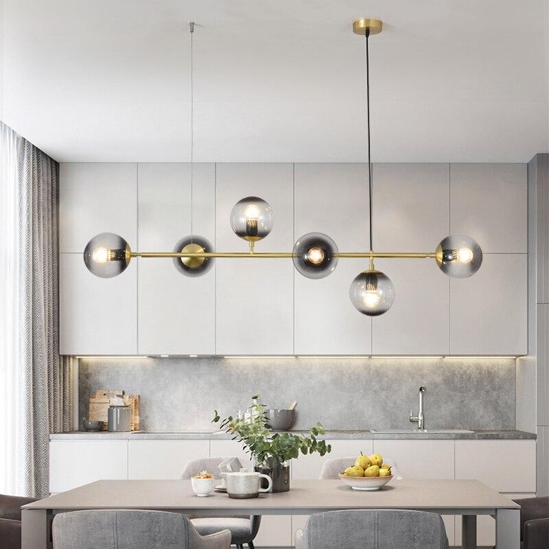 Candelabros nórdicos lámpara colgante Molecular de frijol mágico para sala de estar comedor Bar decoración hogar E27 lámpara colgante de cristal