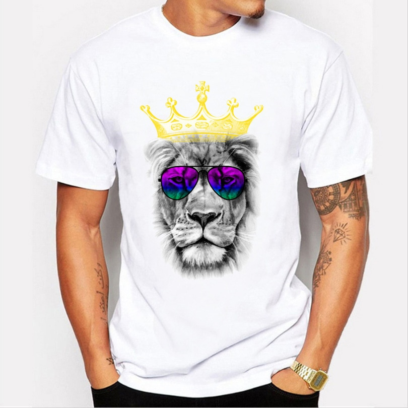 Hot Sale Crown Lion T-Shirt Men'S And Women'S Tops 3d Printing Solid Color Fashion Casual Short-Sleeved O-Neck Oversized T-Shirt