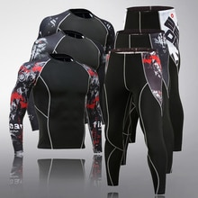Nouveau Fitness sous-vêtements longs 2 pièces ensemble Compression leggings chemise collants rashgard mâle marque vêtements survêtement hommes vêtements de sport