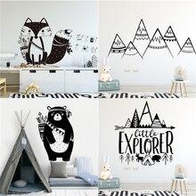 만화 부족 동물 비닐 벽 스티커 어린이 방 장식 Babys 스티커 스티커 곰 여우 벽 침실 액세서리 장식