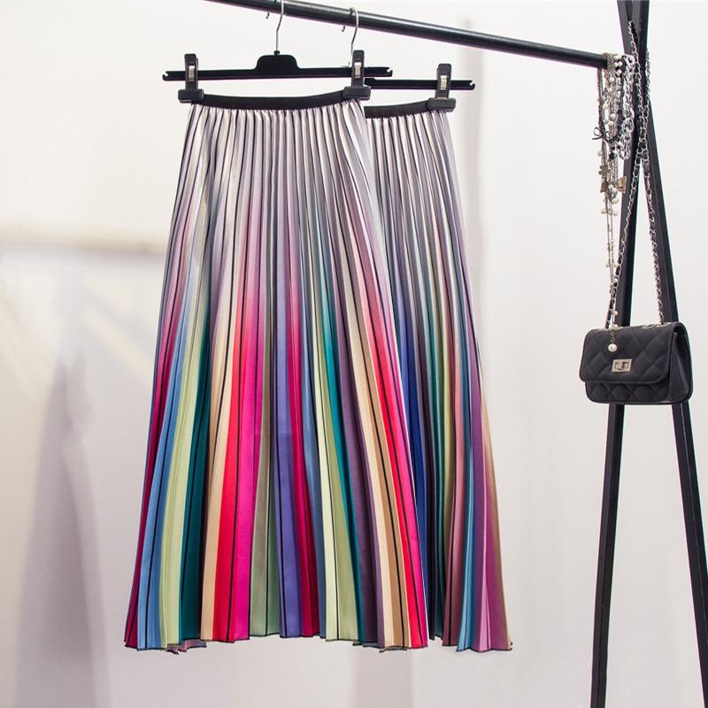 Wontive moda contraste de alta cintura Falda plisada Otoño Invierno faldas mujeres cintura elástica una línea Midi falda mitad de la pantorrilla larga falda
