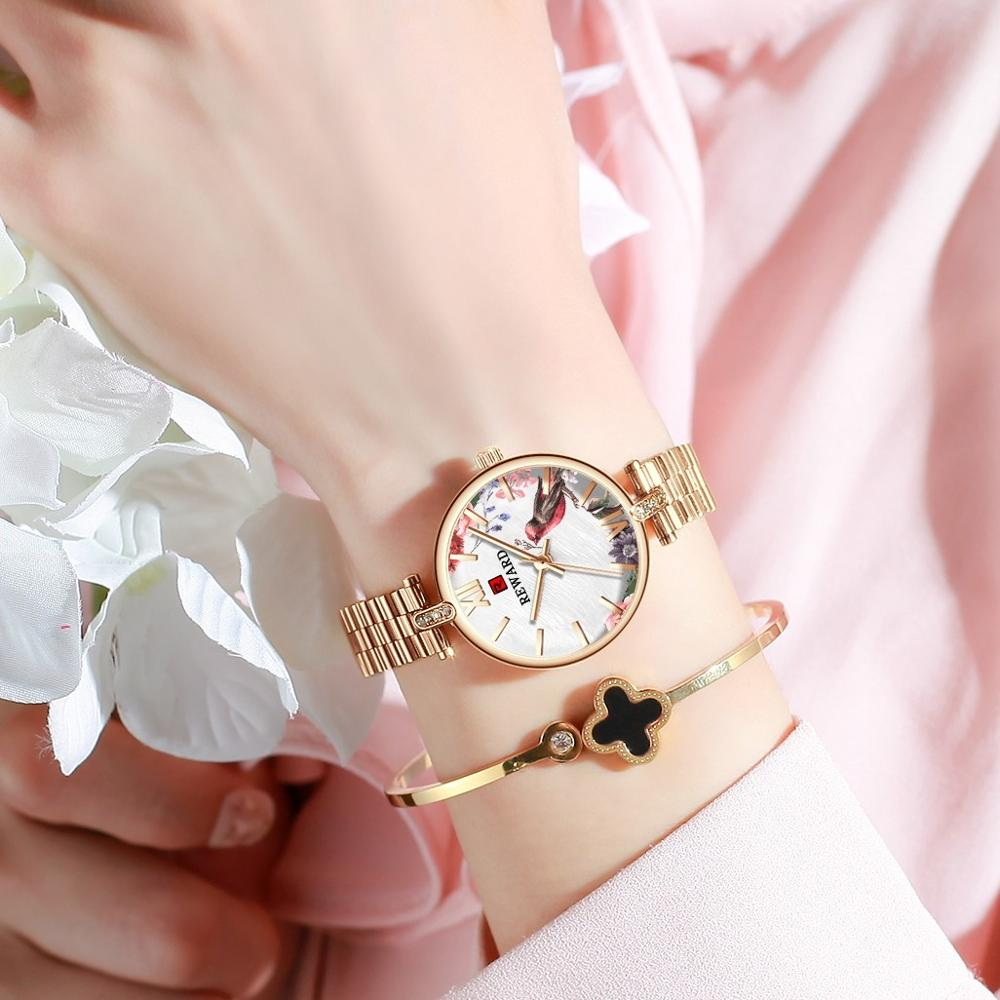 REWARD New Design Women Watches Elegant Floral Dial Rose gold Mesh Band Japan Quartz Movement Luxury Waterproof Casual Quartz enlarge