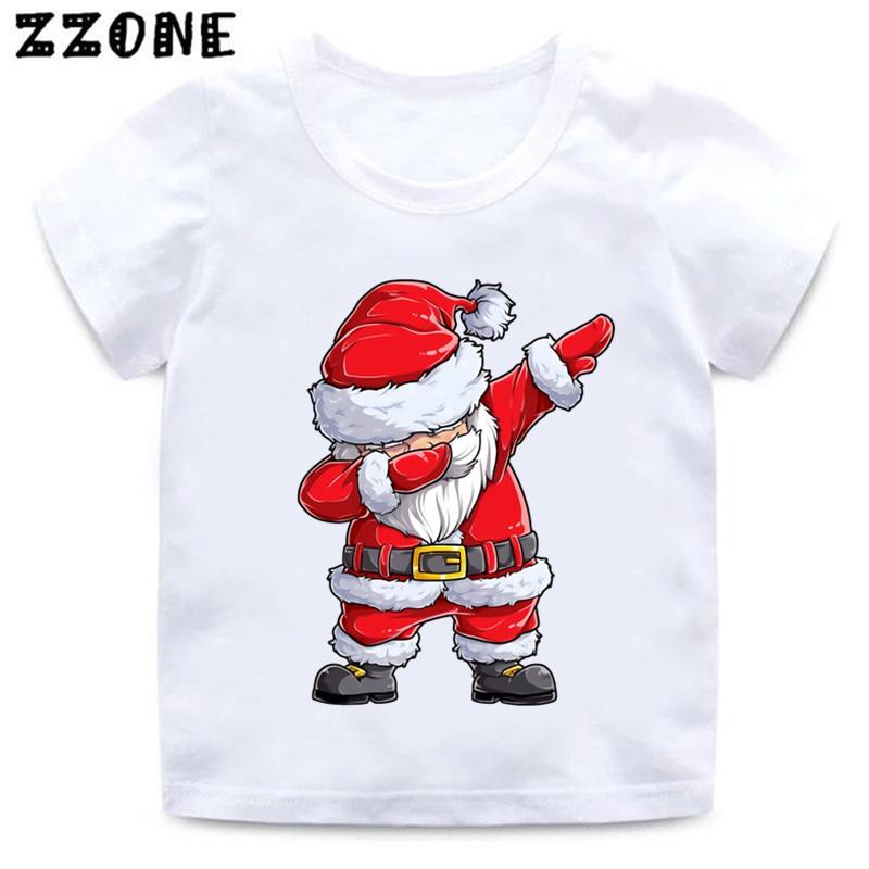 Dabbing Santa Merry Christmas Cartoon Kids Funny T-Shirts Girls Clothes Baby Boys T shirt Children T