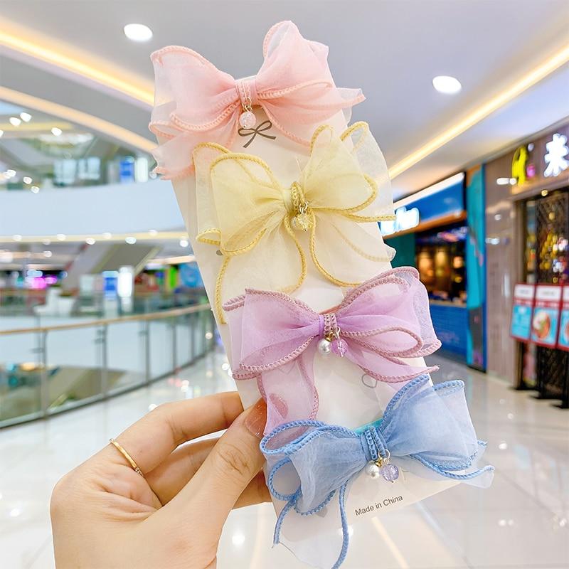 Korean Sweet Pearl Mesh Hair Bows Double Bow Clips Fashion Bowknot Hairpins for Girls Accessories