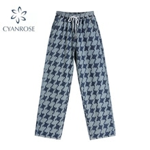 Women Straight Jeans Korean High Waist Chic Houndstooth Autumn Female Trousers Vintage Baggy Casual