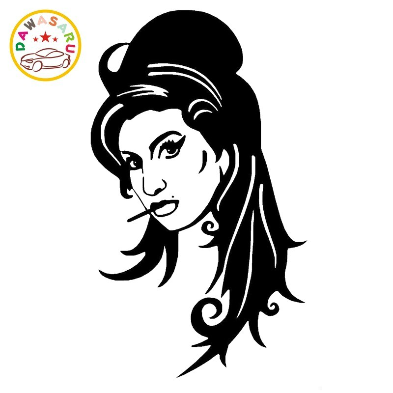 Pegatina de Amy Winehouse para coche, pegatina decorativa de moda, accesorios de PVC para coche, resistente al agua, rascador, negro/blanco, 19cm * 11cm