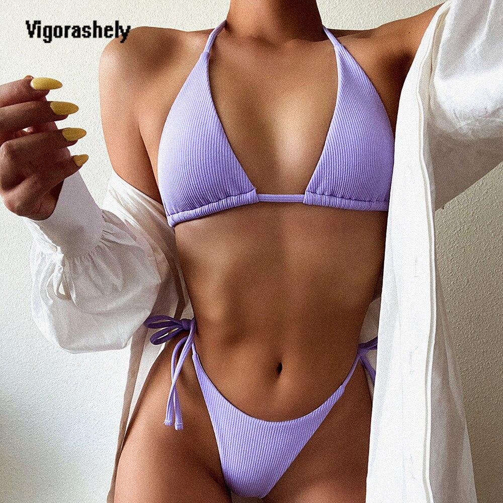 Vigorashely Purple Halter Swimwear Women Sexy Tied Bikini 2020 Two Piece Swimsuit Female Push Up Bikini Set Bathing Suit Swim