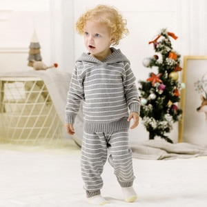Baby Girl Autumn Knitted Set Toddler Boy Striped Hooded Sweater+Elastic Waist Pants Warm Sport Suit Kids Clothes Sets