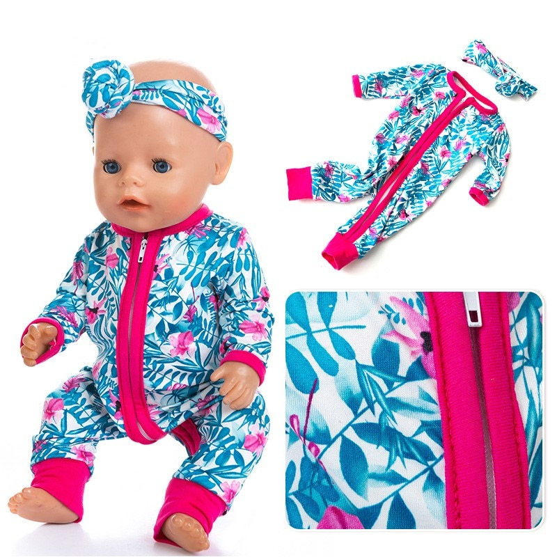 Fit 17 inch 43cm Doll Clothes Born Baby Doll Accessories Red Blue Bamboo Leaf Hairband SiameseFor Baby Festival BirthdayGift недорого