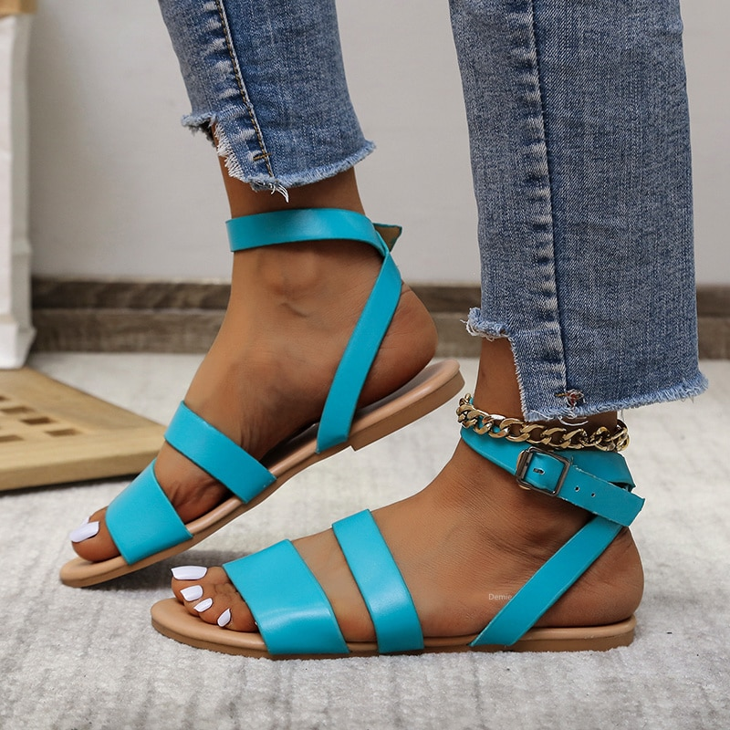 Womens Sandals Summer New Solid Color Buckle Flat Open Toe Casual Shoes Outdoor Comfortable Lightweight 2021