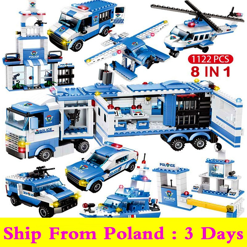 8IN1 City Police Car Building Blocks Compatible SWAT Cop Car Truck Helicopter Bricks Friends STEM Toys for Children Boys lepin 02081 city police the coast guard head quarters building blocks boat helicopter sea exploration ship rescue 60167 brick